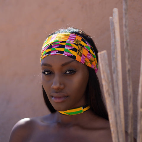 Rayo (Remix) Headband -  Accessories > African headband > Multicolor headband > Ankara > Handmade custom > Orange white and black hues > Headband for girls > Headband for women - Aṣọ Dára