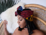 Morenike Half Head Wrap -  Accessories > Fashionable multicolor head wrap > African head wrap > Turban > Wraps for women > Red green blue head wrap > Head tie scarf - Aṣọ Dára