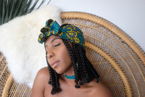 Iyaniwura Half Head Wrap -  Accessories > African head wrap > Multicolor headwrap > Ankara wrap > Custom headwraps > African bandeau > Bandeaus > Colorful head wrap > Head wrap for girls > Head wrap for women - Aṣọ Dára