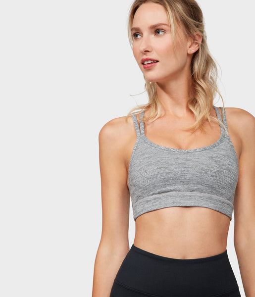 Manduka Apparel - Women's Cross Strap Bra 01 - Stone Melange-2