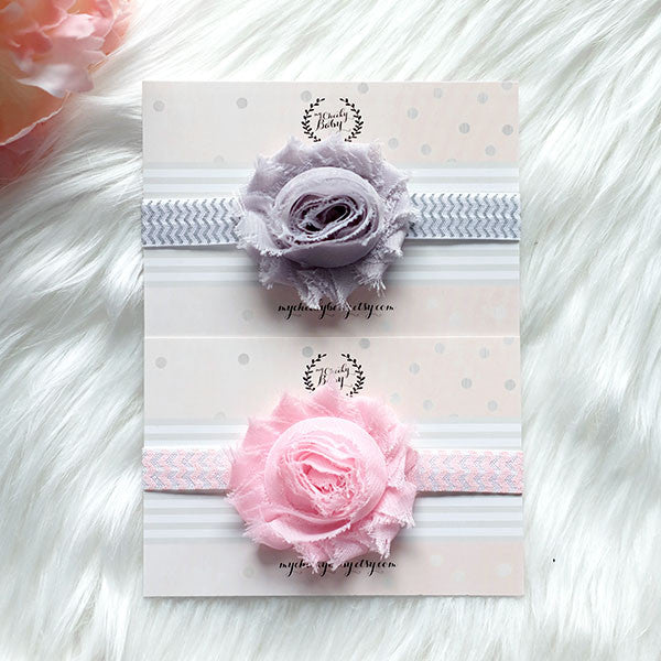 2 PC Combo - Trendy Flower Headbands Light Pink and Grey