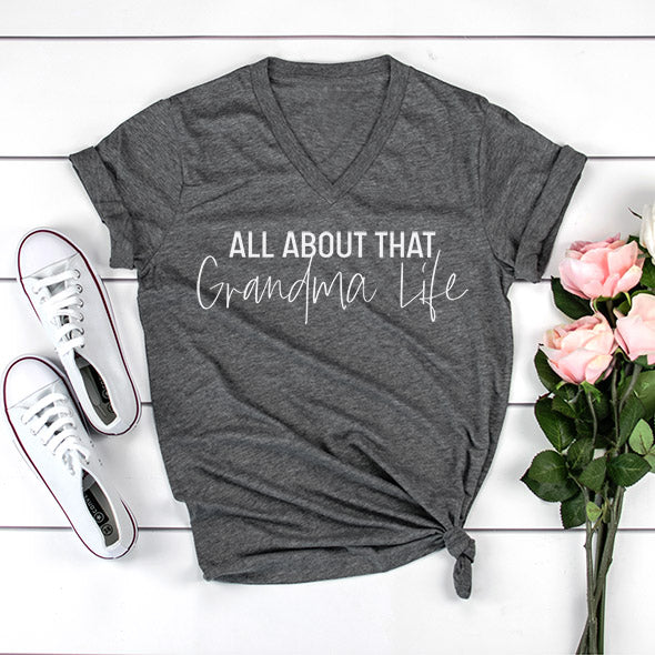 """All about that Grandma Life"" Grey Adult Ladies V-Neck T-Shirt - Size XL"