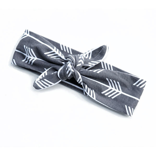 Grey/White Arrow Knot Headband