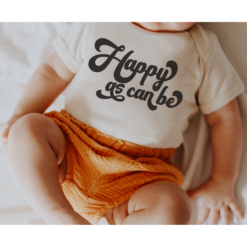 """Happy as can be"" Ivory Cream Child Onesie"