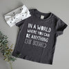 "SALE ""Be Kind"" Child T-Shirt Dark Grey/White - Size 4 Only"