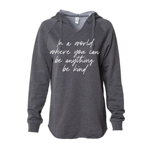"Size XS - ""In a world where you can be anything be kind"" Ladies Heather Charcoal Hoodie Sweatshirt"