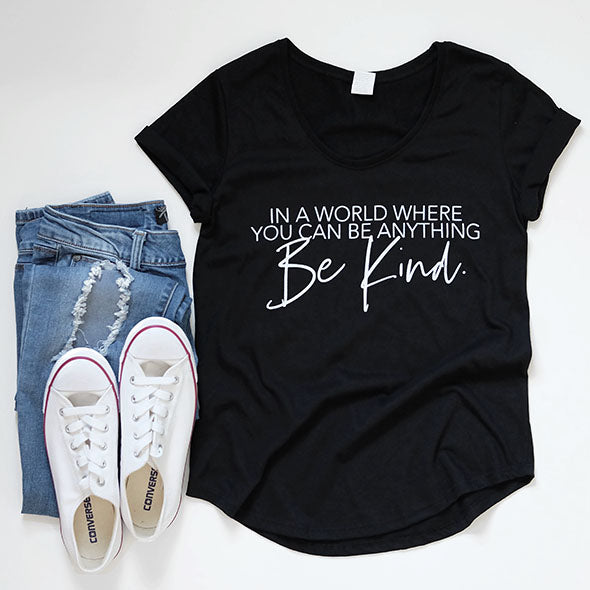 """Be Kind"" Adult Black Scoop Bottom T-Shirt - Size Large"