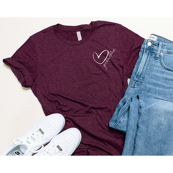 """Grandma"" Heart Design Triblend Maroon Adult Ladies Crewneck T-Shirt"