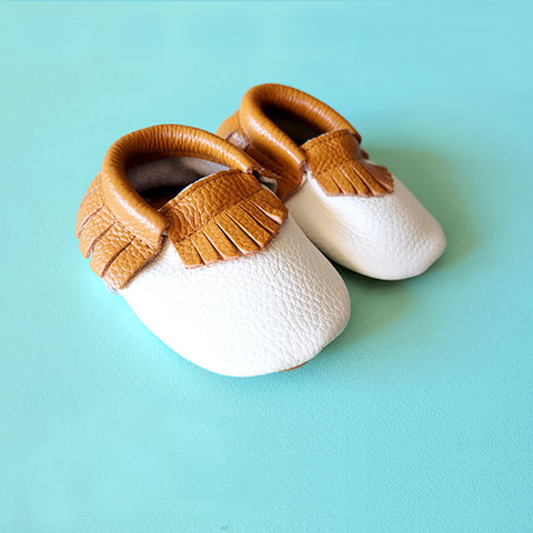 Baby/Toddler Moccs - White with Brown Fringe