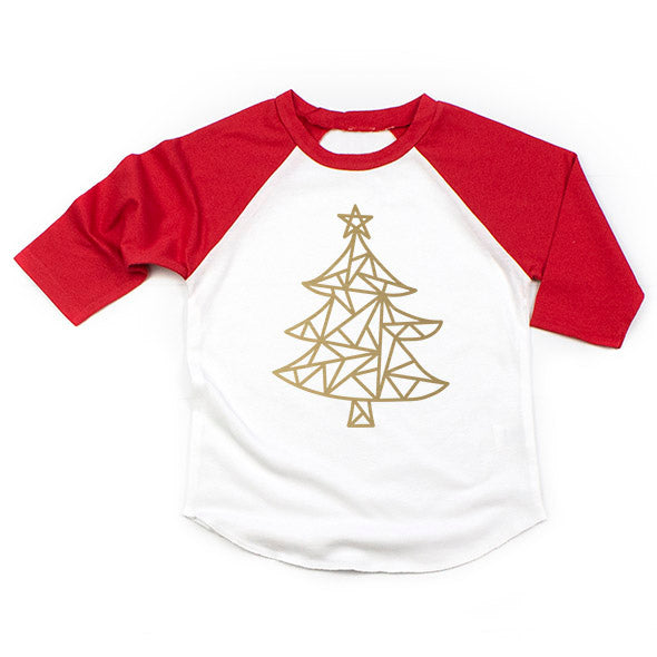 SALE Child Red/White Christmas Raglan - Gold Metallic Geometric Christmas Tree