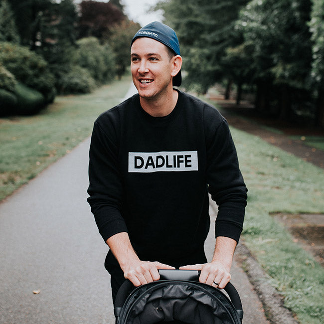 """Dad Life"" Solid Black Mens Crewneck Sweatshirt - Size 2XL"