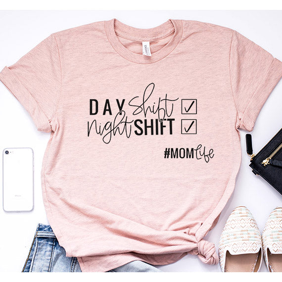 "SALE ""Day Shift/Night Shift #MOMLIFE"" Ladies Peach Triblend Crewneck T-Shirt"