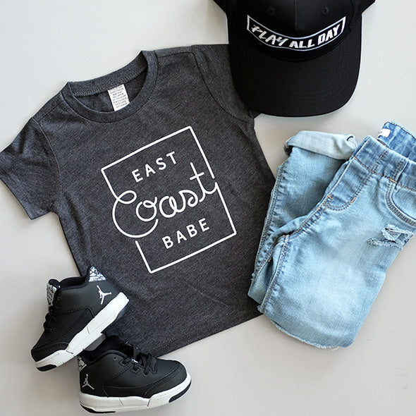 "SALE East Coast Babe"" Child T-Shirt Dark Heather Grey"