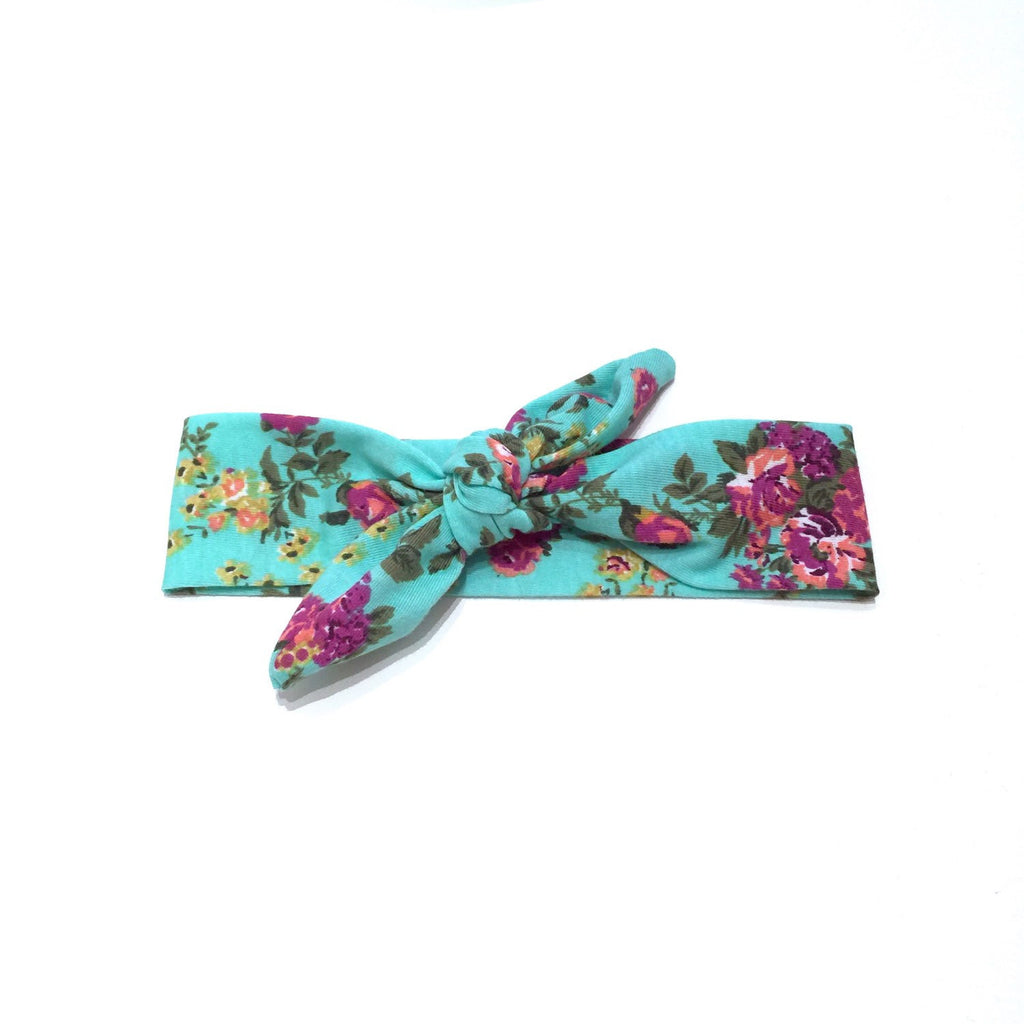 Top Knot Headband Turquoise Floral