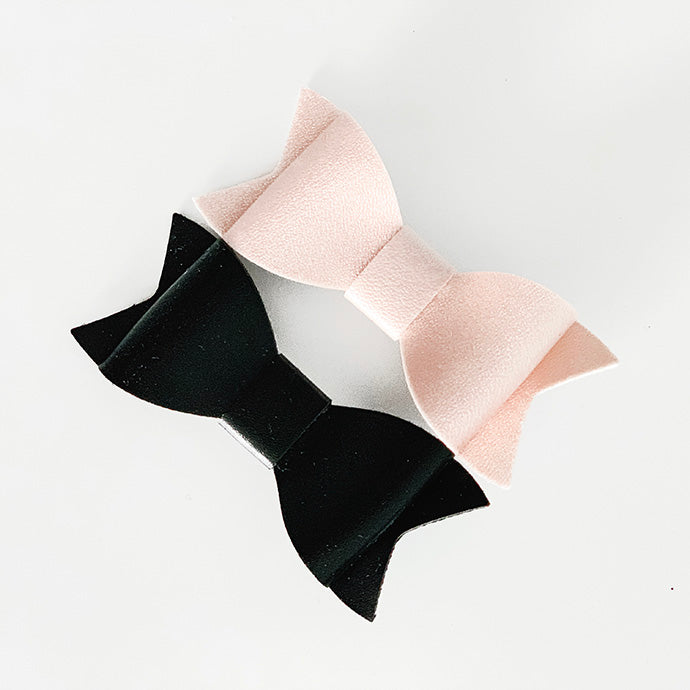 2 PC Leather Bow Clip Combo - Light Pink and Black Bows