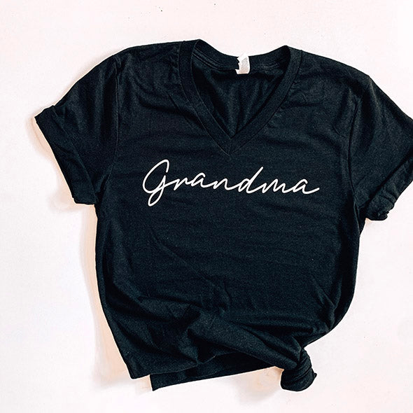 """Grandma"" Black Heather Adult Ladies V-Neck T-Shirt"