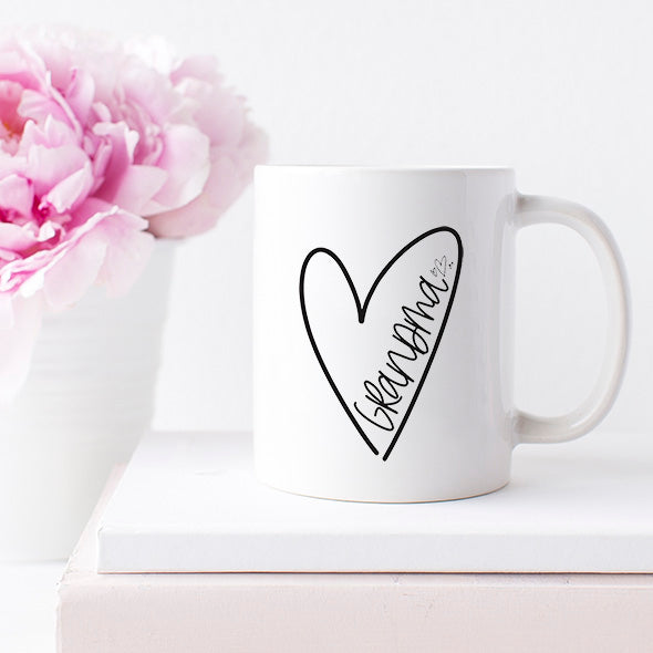 """Grandma"" Heart - White Ceramic Mug"