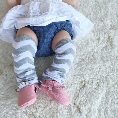 Grey Chevron Leg Warmers