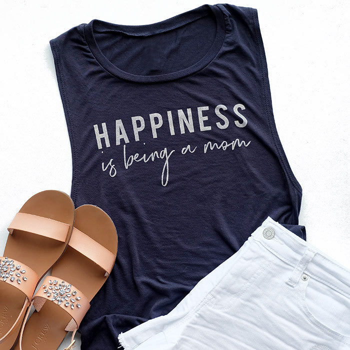 "SALE ""Happiness is being a mom"" Ladies Tank Top"