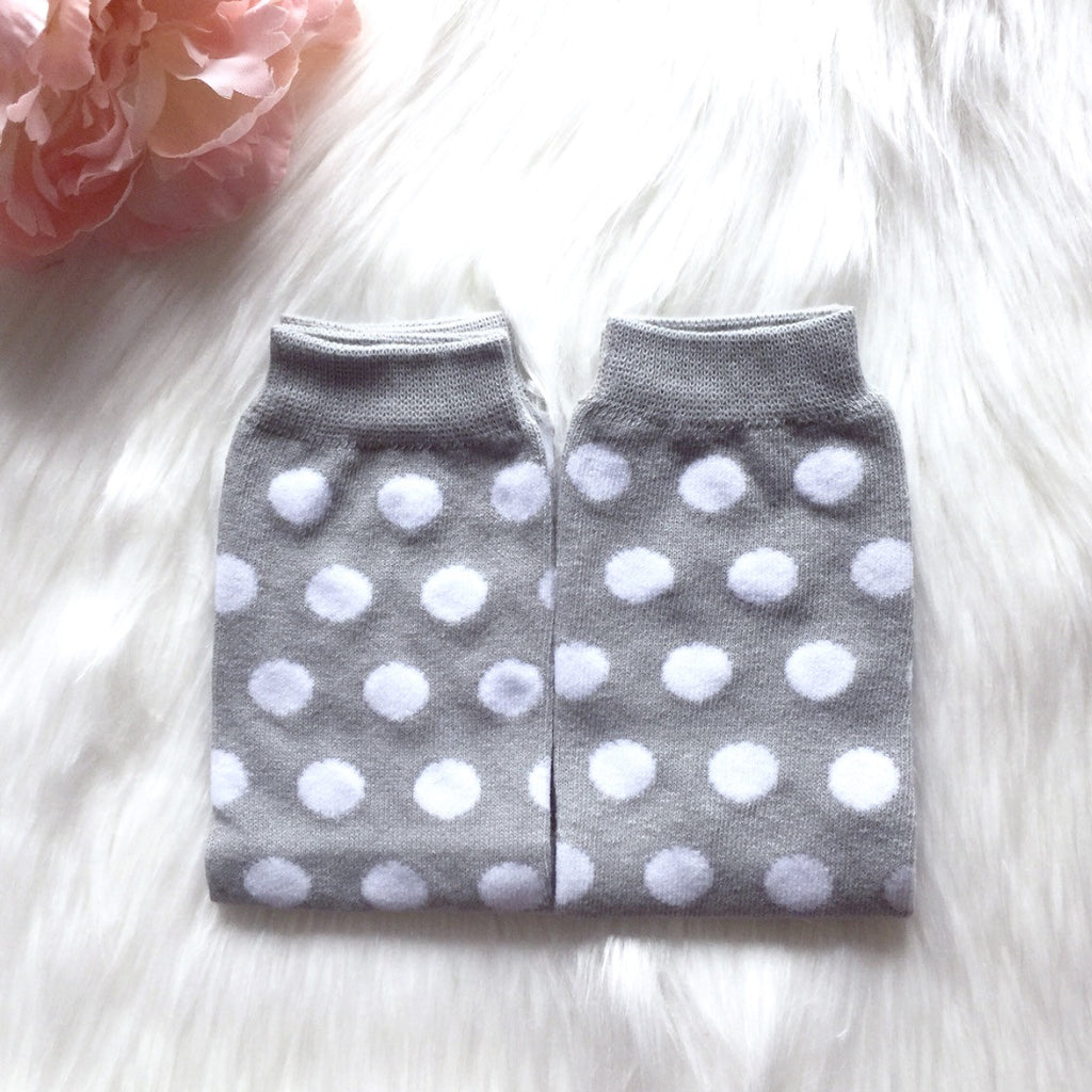 Grey + White Polka Dot Leg Warmers