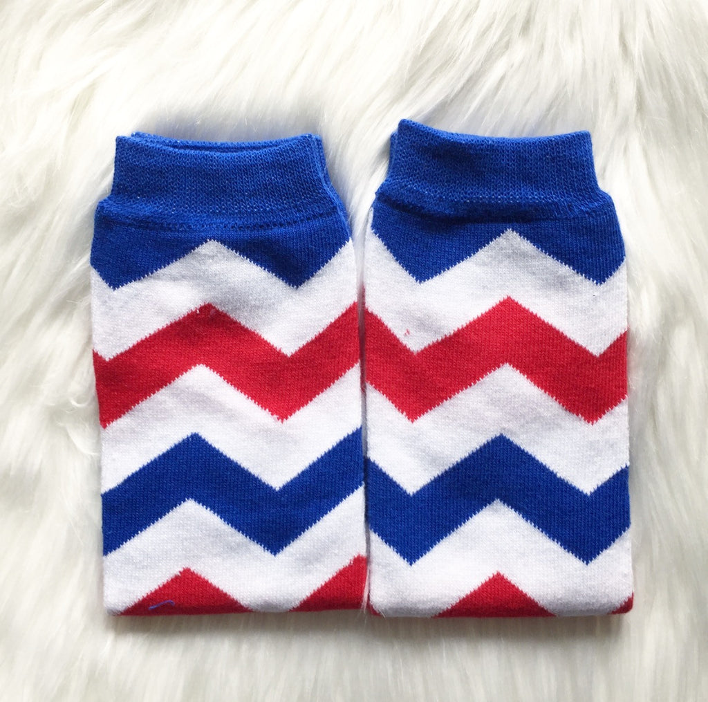 Blue White Red Chevron Leg Warmers