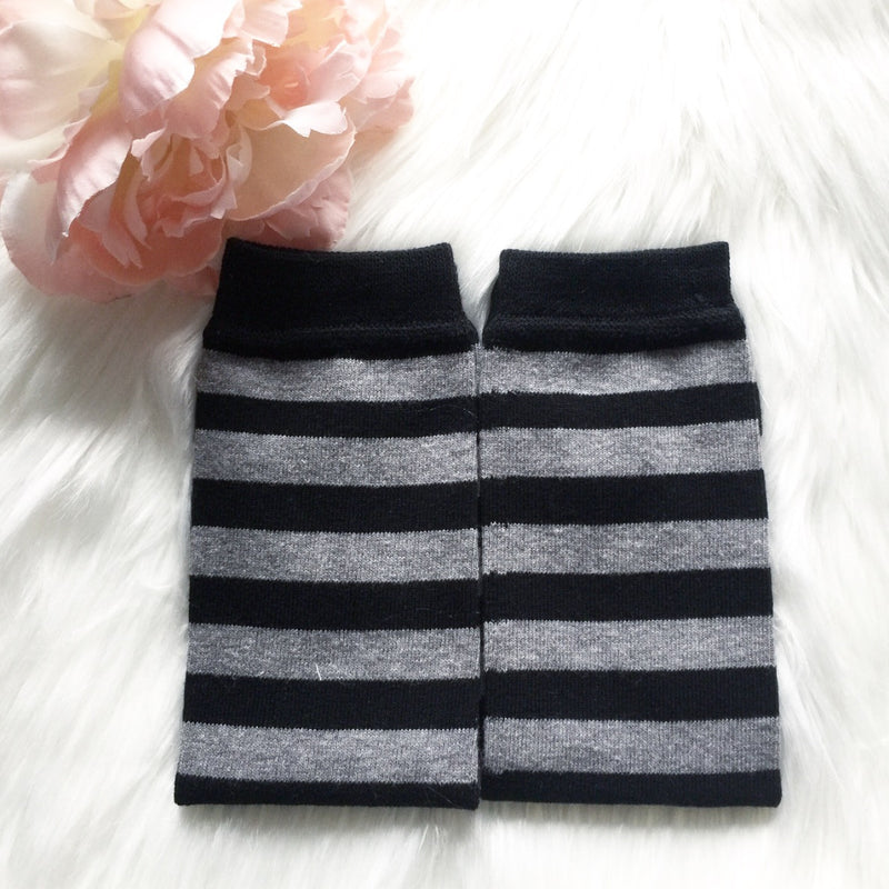 Black and Grey Stripe Leg Warmers