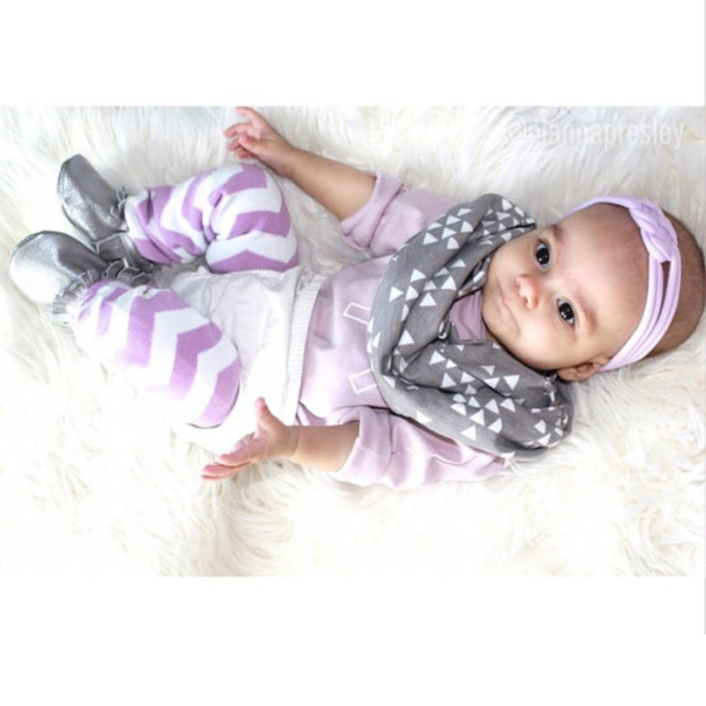 SALE Grey with White Triangle Child Scarf