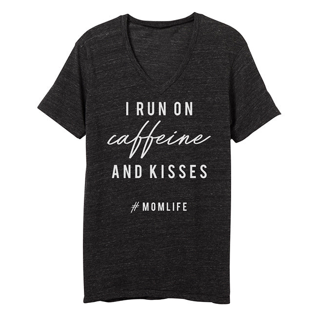 """I Run on Caffeine and Kisses"" Ladies Adult Triblend Charcoal V-Neck T-Shirt"