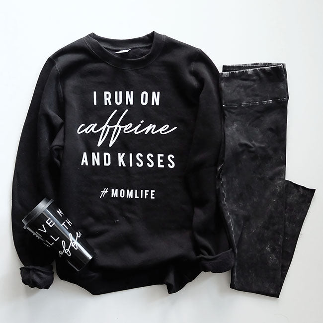 """I Run on Caffeine and Kisses"" Ladies Black Crewneck Sweatshirt"