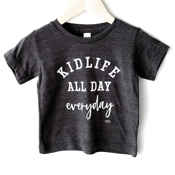 "SALE ""Kid Life All Day Everyday"" Child T-Shirt Dark Grey"