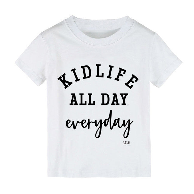 "SALE ""Kid Life All Day Everyday"" White Child Tee"