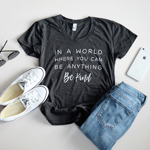 """Be Kind"" Ladies Triblend Black T-Shirt"