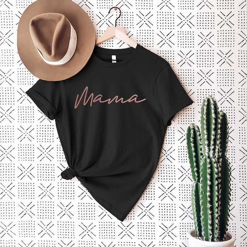 """Mama"" Ladies Adult Black T-Shirt with Rose Gold Ink"