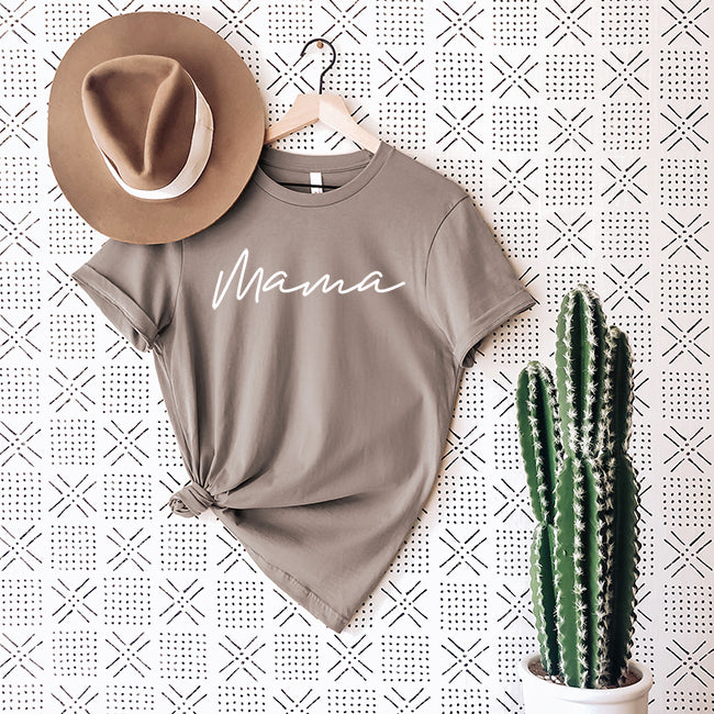 """Mama"" Ladies Adult Taupe T-Shirt"