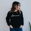 Mama  Black & White Ladies Adult Crewneck Sweatshirt - Size Large