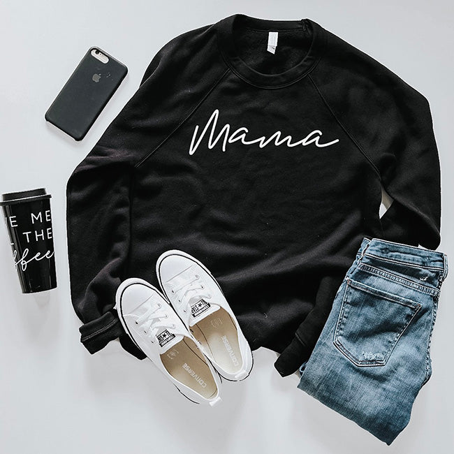 Mama - Adult Ladies Black Crewneck Sweatshirt