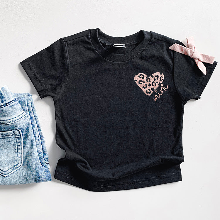 """Mini"" Rose Gold Leopard Heart Child Black Crewneck T-Shirt"