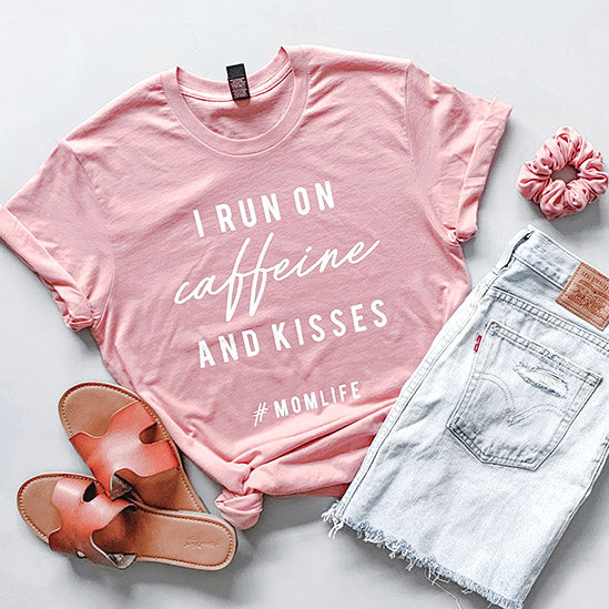 """I Run on Caffeine and Kisses"" Ladies Adult Dusty Rose Pink Crewneck T-Shirt"