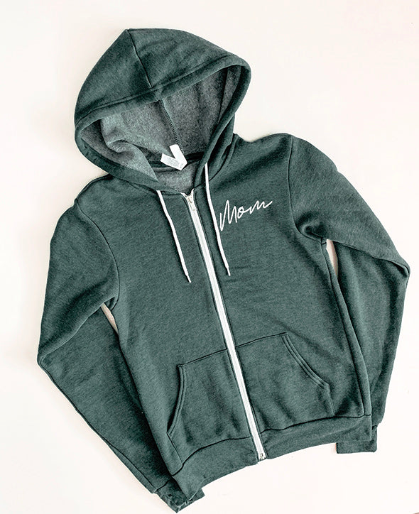 """Mom"" Ladies Forest Green Fleece Zip Hoodie Sweatshirt - Size Small"