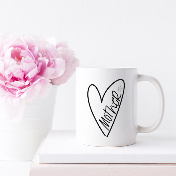 """Mother"" Heart - White Ceramic Mug"