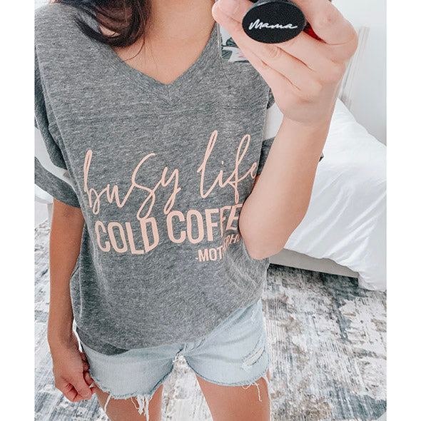 """Busy Life Cold Coffee - Motherhood"" Adult Grey V-Neck Varsity Tee"