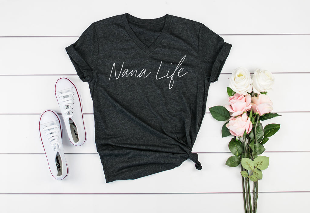 """Nana Life"" Triblend Charcoal Adult Ladies V-Neck T-Shirt - Size XL"