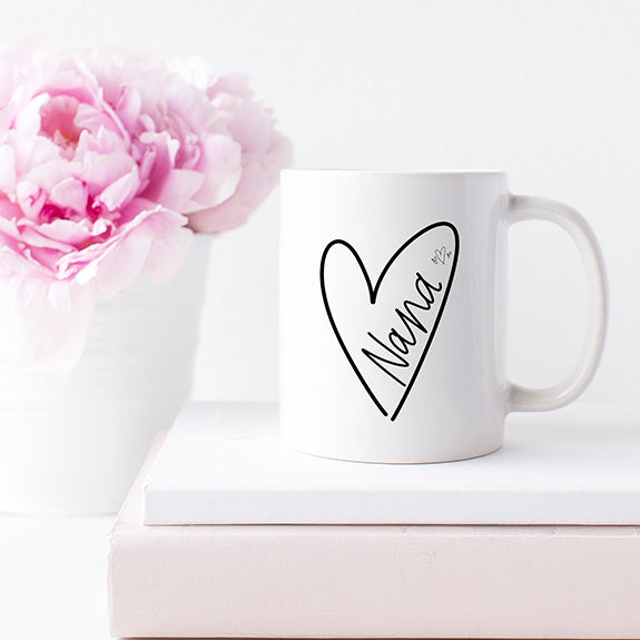 """Nana"" Heart - White Ceramic Mug"