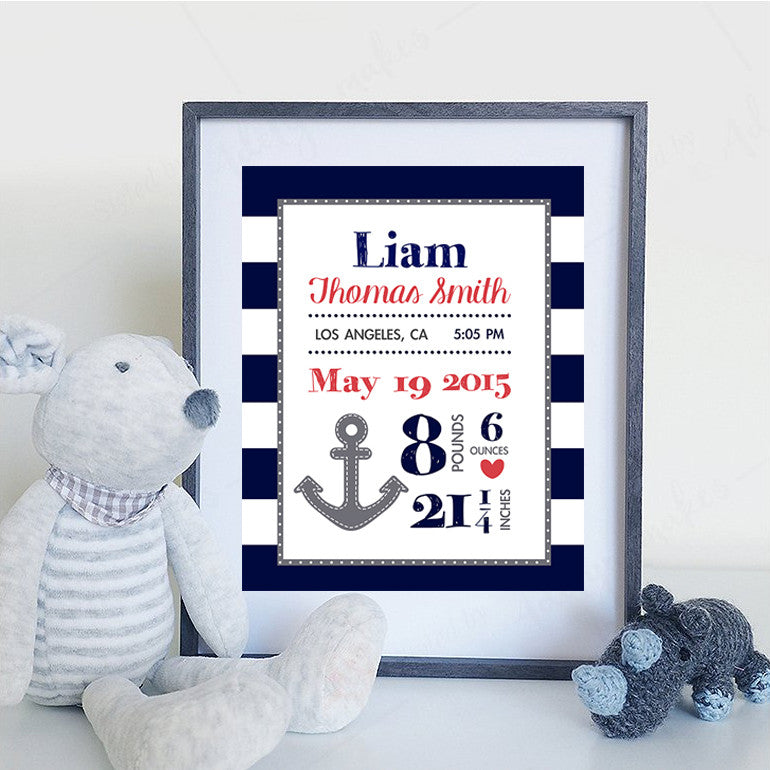 Nursery Anchor Birth Print - Personalize with your child's details