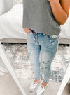 """Sarah"" - Adult Distressed Light Faded Blue Jeans"