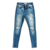 """Peyton"" - Adult Distressed Ripped Dark Blue Jeans"