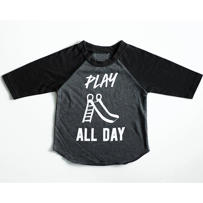 "SALE ""Play All Day"" Child Black and Grey Raglan - Size 5"