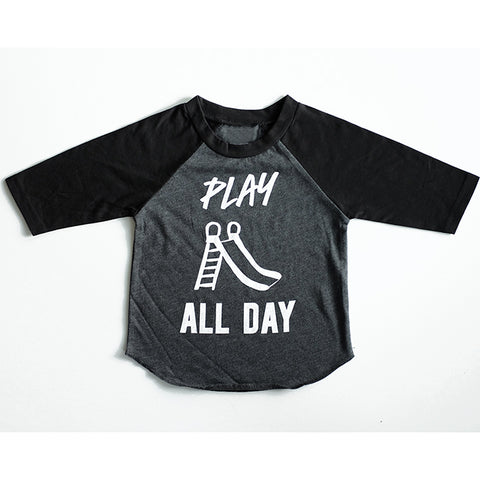 """Play All Day"" Child Black and Grey Raglan"