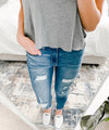 """Brielle"" - Adult Distressed Dark Blue Jeans"