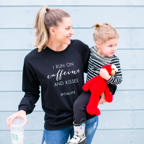 "SALE ""I Run on Caffeine and Kisses"" Ladies Sweatshirt - XS Only"